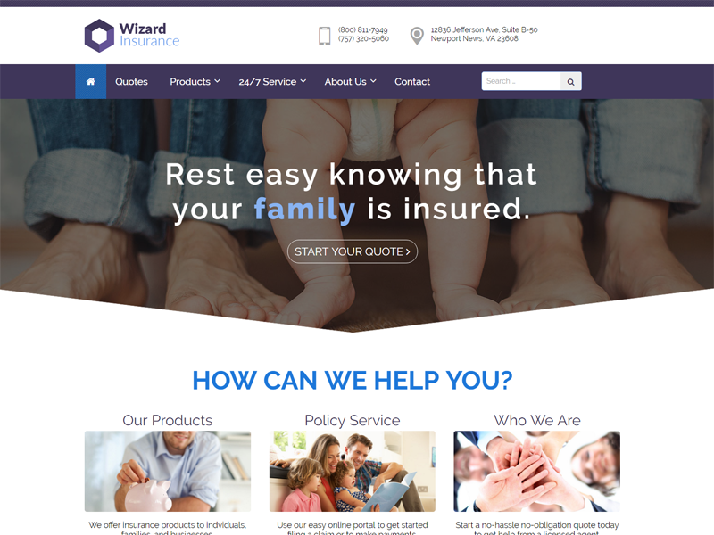 insurance policy website template  Insurance Website Templates